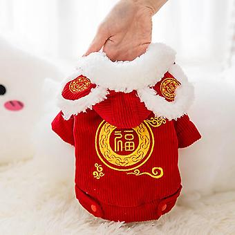 Pet clothes cat clothing thickened warm red autumn and winter clothing