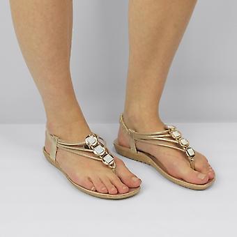Shumo Shalimar Ladies Cushioned Open Toe Sandals Gold