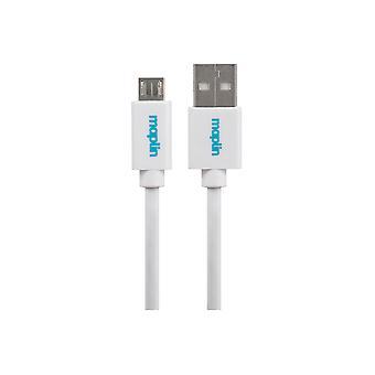 Maplin Premium USB A 2.0 Hane till Micro USB B Hankabel 0.25m Vit