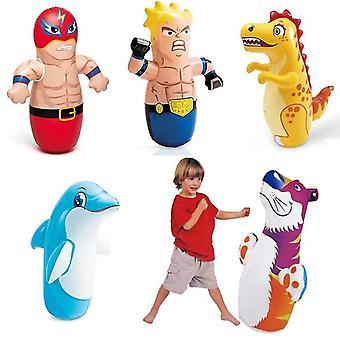 Boxing Bag For Kids Tumbler Inflatable Toys Boys Girls Children(Red Flash)