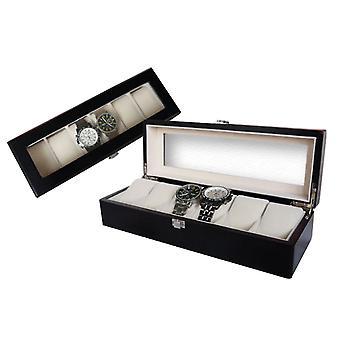 6 Slots Coffee Watch Boxes with Window Pillow Watch Jewelry Display Storage Box