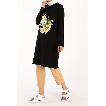Leaf Printed Long Sleeve T-shirt Tunic