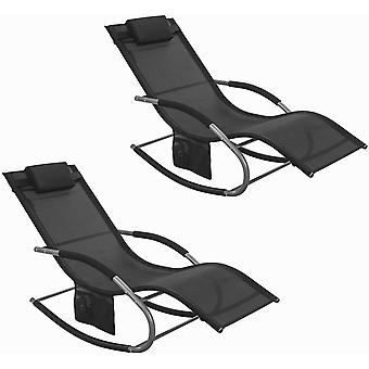 SoBuy 2 juegos al aire libre mecedora silla negro, OGS28-SCHx2