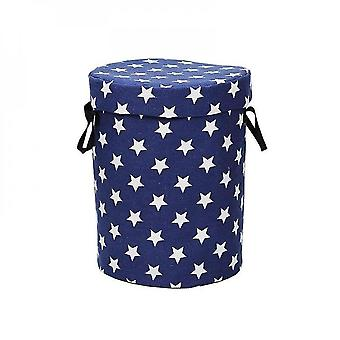 Round Cask Canvas Storage Bag Children Toys Small Household Prevent Dust Storages Bags(blue)