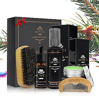 Beard Care Cleaning Styling Set With Essential Shampoo Brush Comb And Oil