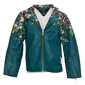 Colleen Lopez Women's Embroidered Faux Leather Jacket Green 638980