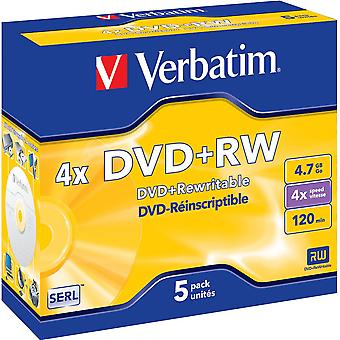 Verbatim DVD+RW, 4x, 4,7GB/120 min, 5er-Pack Jewel Case, SERL