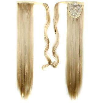 (60cm27-613#) Largo lacio pelo wrap ponytail clip en pony tail extensiones de pelo natural