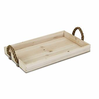 Natural Wooden Tray with Rope Handles