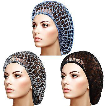 Frauen Mesh HaarNetz Rayon Kopf Bänder für Schlafen Häkeln Haarnetz 3pcs