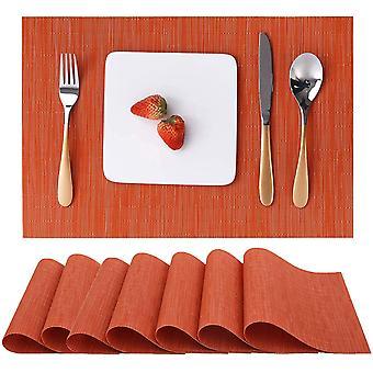 Table Mat 8-piece Set Of Indoor Placemat, Washable Non-slip Heat-resistant Woven Placemat (orange)
