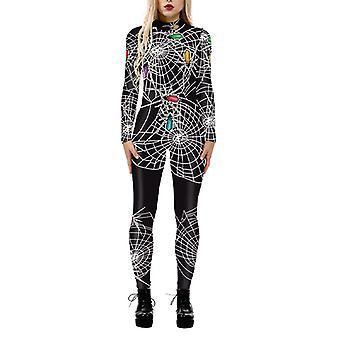 Women's 3d Print Halloween Cosplay Costume Fancy Dress Jumpsuit Catsuit Playsuit