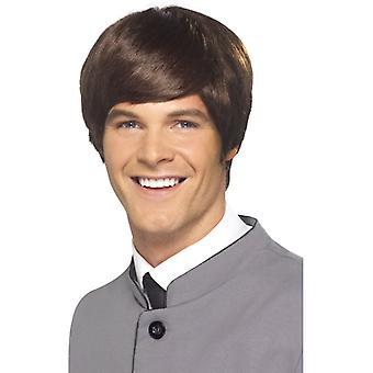 60s mod mens peruk, brun
