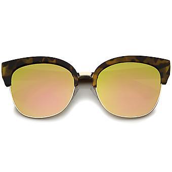 Moderne Half-Frame kleur spiegel vlakke Lens Cat Eye zonnebril Oversized 58mm