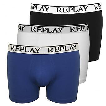 リプレイ 3 パックの古典的なロゴ ボクサー パンツ、ブラック/ホワイト/ブルー