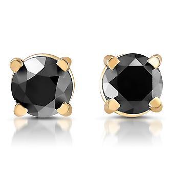 Желтое золото 1 / 4ct бриллиант черный шпильки круглой