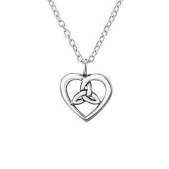 Celtic Heart - 925 Sterling Silver Plain Necklaces - W30869X