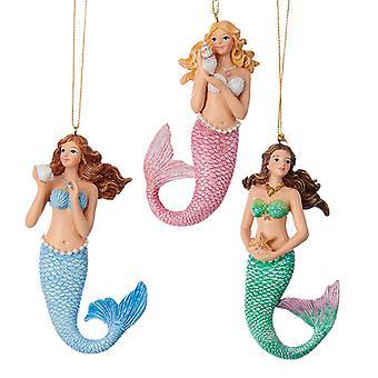 Kurt Adler Pink Blue and Green Mermaids  Holiday Ornaments Set of 3 Resin