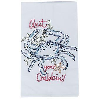 Sluit uw Crabbin blauwe krab geborduurde bloem Sack keuken schotelhanddoek