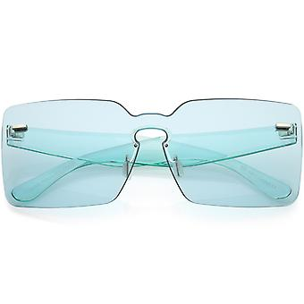 Oversize Square Rimless Sunglasses Wide Arms Color Tinted Mono Lens 68mm
