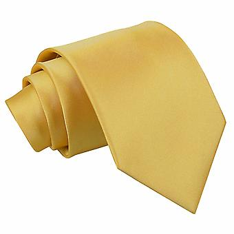 Gold Plain Satin Extra Long Tie