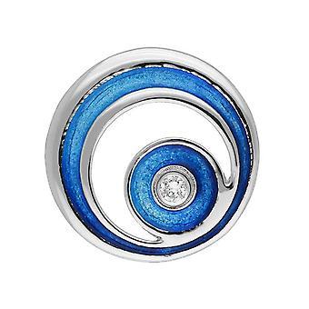 Sterling Silver tradičná Súčasná moderná Orbit Design brošňa-Hot Glass smalt