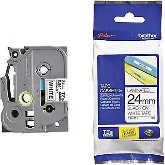 Etichettatura nastro Brother TZe, colore nastro TZe-251 TZ: bianco Font colore: Black 24 mm 8 m