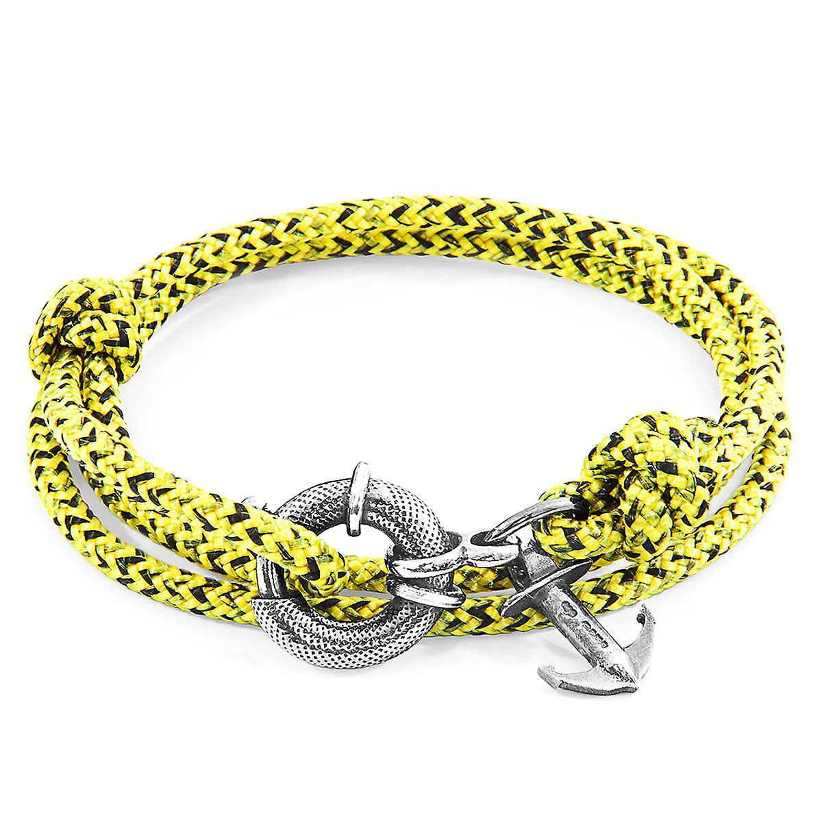Anchor & Crew Yellow Noir Clyde Anchor Silver and Rope Bracelet