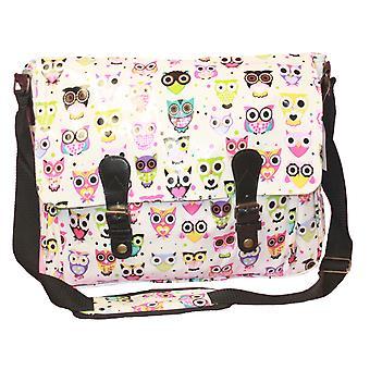 Womens Summer Owl Motif School College Fashion Satchel Bag