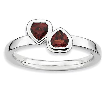 925 Sterling Sølv Ramme Polert Stablet Uttrykk Garnet Dobbel Kjærlighet Hjerte Ring Smykker Gaver til Kvinner - Ring Si