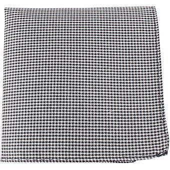 Найтсбридж Neckwear Dogstooth шелка карман площадь - черный/белый