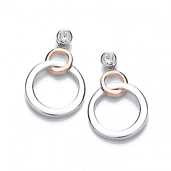 Cavendish French Silver and Rose Gold Linked Circle Earrings