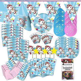 Unicorn Rainbow partiet satt XL 70-teilig for 8 gjester Unicorn dekorasjoner bursdag party pakken