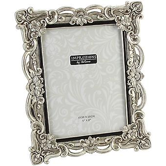 Juliana Impressions Floral Antique Resin Photo Frame 6 x 8 - Silver
