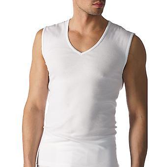 Mey 49137-101 Männer Casual Baumwolle einfarbig weißen Tanktop Weste