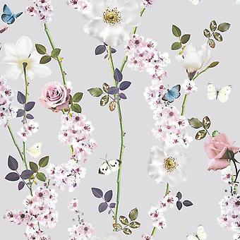 Bloem bloemen vlinders rozen blaadjes Wallpaper Dreamscape Heather Arthouse