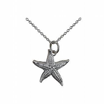 Silver 19x19mm Starfish Pendant with a rolo Chain 24 inches