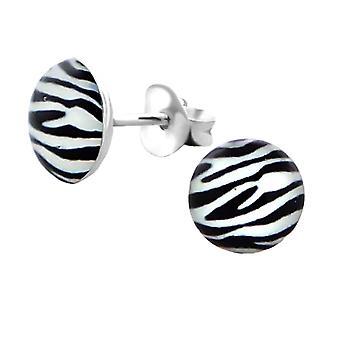 Sterling Silver Zebra Pattern Circle Stud Earrings