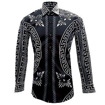 Oscar Banks Black Baroque Print Satin Long Sleeve Mens Shirt