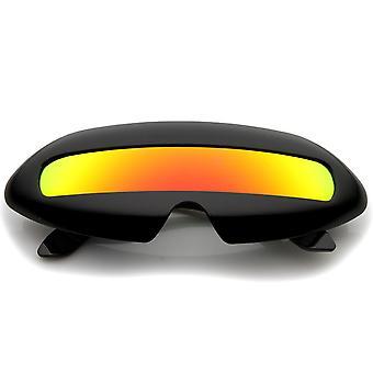 Futurystyczny strój pojedynczy Tarcza lustro kolorowe soczewki Nowość Wrap okulary 70mm
