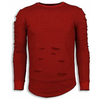 3D Stamp PARIS Sweater-Damaged sweatshirt-Red