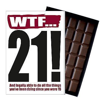 Śmieszne 21 urodziny prezent rude niegrzeczny obecny dla niego lub jej 85G czekolada powitanie karty IYF110