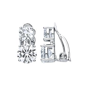 Jewelco London Ladies Rhodium Plated Silver White round brilliant cubic zirconia Double Solitaire Clip-on Drop Earrings