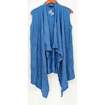 H by Halston Women's Sweater Waffle Stitch Cascade Collar Blue A272363