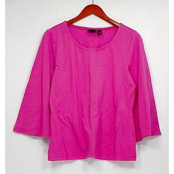 Femmes avec contrôle Top 3/4 Bell Sleeve Scoop Neck Knit Top Pink A301325