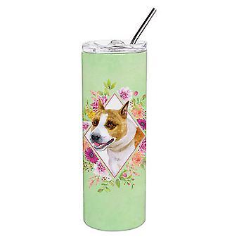 Bull Terrier grüne Blumen Doppel wandbemauert Edelstahl 20 Oz Skinny Tumbler