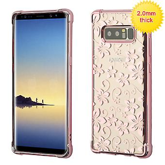 MYBAT Rose Gold Glassy Hibiscus Flower Klarity Electroplated Premium Candy Skin Cover  for Galaxy Note 8