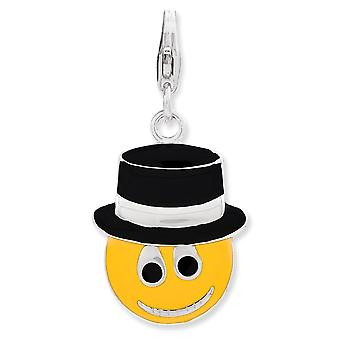 925 Sterling Silver Rhodium plated Fancy Lobster Closure Enameled Face With Top Hat W Lobster Clasp Charm Pendant Neckla