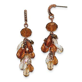 Multicolor de acero quirúrgico post cobre tono multicolor acrílico perlas post larga gota dangle pendientes regalos de joyería para