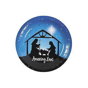 SALE - 8 Small Nativity Stable Silhouette Paper Christmas Party Plates